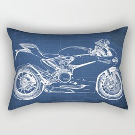 Blueprint, Superbike 1299 Panigale, 2015,brown background, gift for men, classic bike Rectangular Pillow