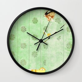 """Coles Phillip's 'Fadeaway Girl' Illustration  """"Yellow Suitcase"""" Wall Clock"""