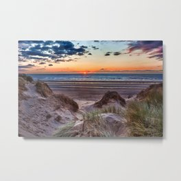 Sunset over the sand dunes Metal Print