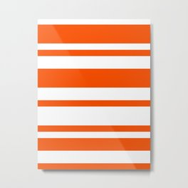 Mixed Horizontal Stripes - White and Dark Orange Metal Print