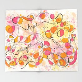 Flourish: Strength. Hope. Courage. Throw Blanket