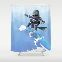 squirtle Shower Curtains featuring WATERBENDING SQUIRTLE by DROIDMONKEY