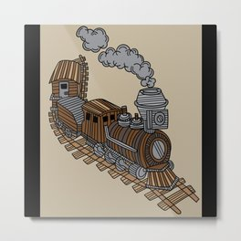 Train Retro Railway Locomotive Metal Print