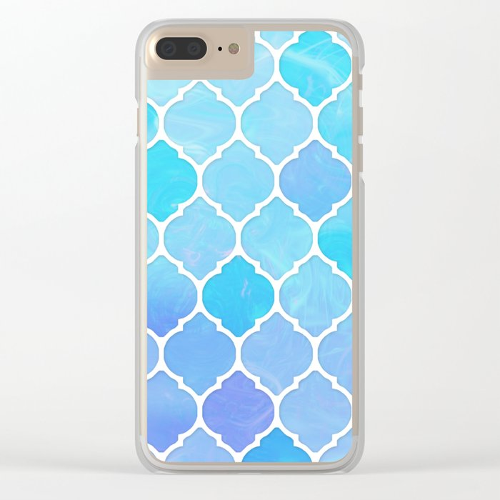 Blue and purple glass Moroccan print Clear iPhone Case