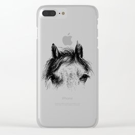Horse animal head eyes ink drawing illustration. Mammal face portrait Clear iPhone Case