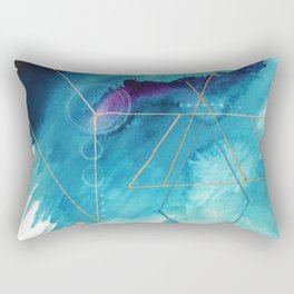 Galaxy Series [1]: an abstract mixed media piece in blue, purple, white, and gold Rectangular Pillow