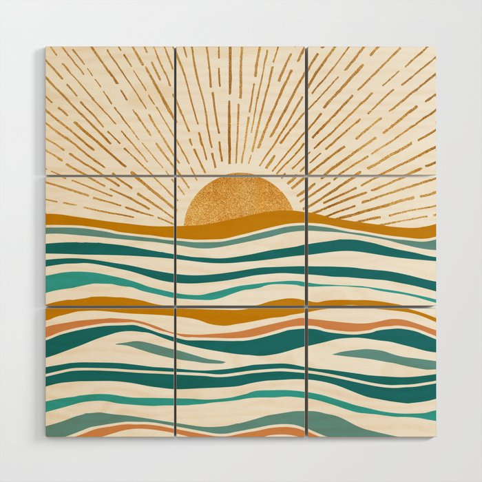 The Sun and The Sea - Gold and Teal Wood Wall Art