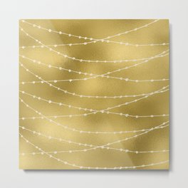 Merry christmas- white winter lights on gold pattern Metal Print