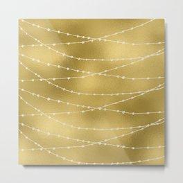Merry christmas- white winter lights on gold pattern Metal Print