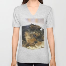 Puppy And the First Chewing Bone Yorkshireterrier  Unisex V-Neck