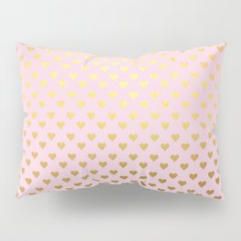 Princesslike - pink and gold elegant heart ornament pattern Pillow Sham