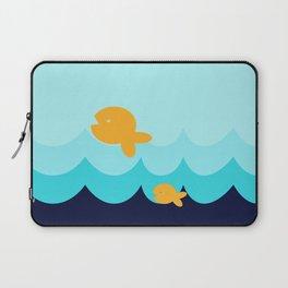 Beach Series Aqua- Gold Fish Animals in the deep See Laptop Sleeve
