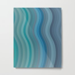 Zen Wavy Lines in Ocean Blue and Green Metal Print