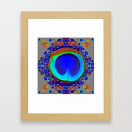 Blue Fantasy Floral Peacock Art Grey Pattern Framed Art Print