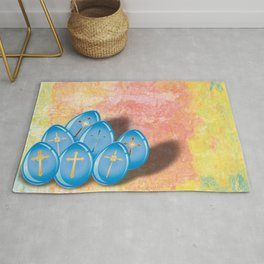 Blue eggs and crosses on pastel textured background Rug