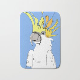 Yellow Crested Cockatoo in blue Bath Mat