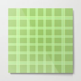Grid on Green Background Metal Print