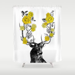 The Stag and Roses | Deer and Flowers | Yellow | Vintage Stag | Vintage Deer | Antlers | Woodland | Shower Curtain