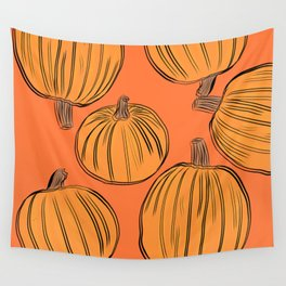 Fall Pumkins Wall Tapestry