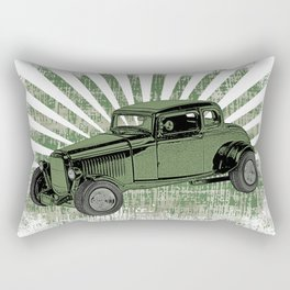 1932 Ford Coupe Hot Rod with Sunburst Rectangular Pillow