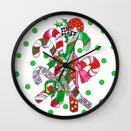 Candy Cane Party Wall Clock