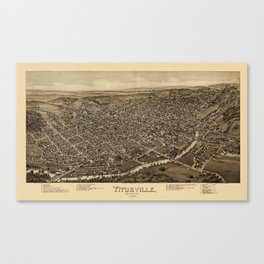 Map Of Titusville 1896 Canvas Print