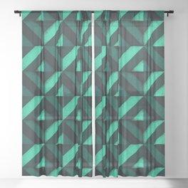 Concrete wall - Emerald green Sheer Curtain