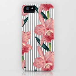 Pink Orchids And Grey Pinstripes iPhone Case