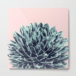 Blush Navy Blue Agave Chic #1 #succulent #decor #art #society6 Metal Print