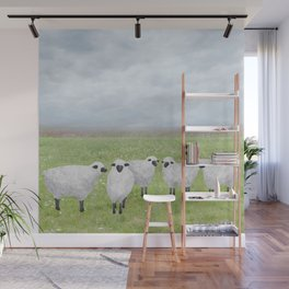 sheep and queen anne's lace Wall Mural