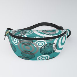 Spiral circles black & white - turquoise Fanny Pack