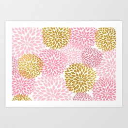Pink and Gold Dahlias floral art Art Print