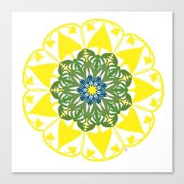 Yellow Green and Blue Mandala Flower Canvas Print