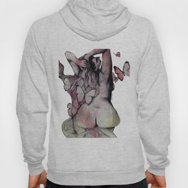 Sugar Coated Sour: Pomegranate (nude curvy pin up with butterflies) Hoody