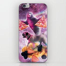 Space Pizza Sloth On Pug Unicorn On Waffles iPhone Skin