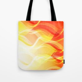 Theme of fire for the banner. Bright red and orange glare on a gentle background for a fabric or pos Tote Bag