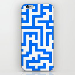 White and Brandeis Blue Labyrinth iPhone Skin