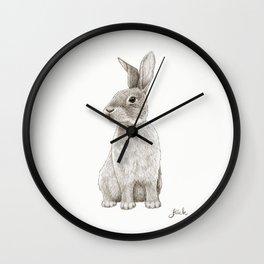 "Rabbit Artwork - ""Spinning Cotton-Tails"" Bunny Illustration Wall Clock"