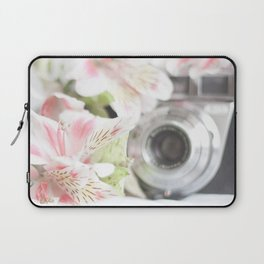 Pink flower and bokeh camera in the morning (Still Life Photography)  Laptop Sleeve