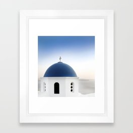 Santorini White and Blue Church View Framed Art Print