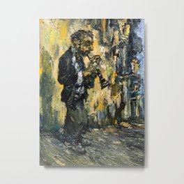 street musician playing on clarinet Metal Print
