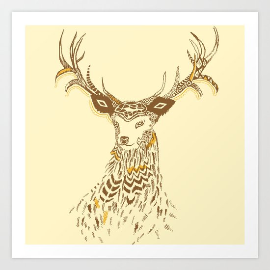 Tribal Deer Art Print