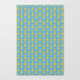 French Country Blue and Gold Ermine Spots Patterned Print Canvas Print