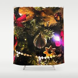 Bows Stars and Baubles Decorated Tree Shower Curtain