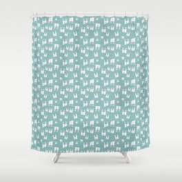 White bunnies on blue background Shower Curtain