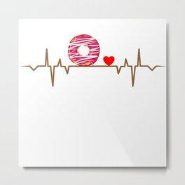 Donut Heartbeat Love Gift T-Shirt Metal Print
