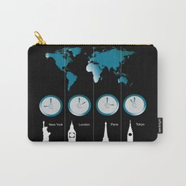 TIME ZONES. NEW YORK, LONDON, PARIS, TOKYO Carry-All Pouch