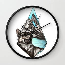 Wolf in Mountains Wall Clock