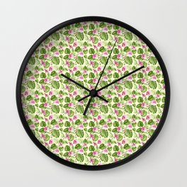 Hand painted pink green watercolor tropical monster leaves floral Wall Clock