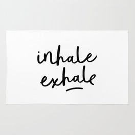 Inhale Exhale black and white contemporary minimalism typography print home wall decor bedroom Rug
